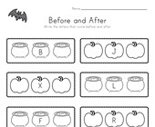 Halloween Before and After Alphabet Worksheet