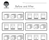 School Before and After Alphabet Worksheet