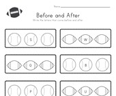 Sports Before and After Alphabet Worksheet