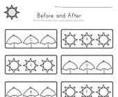 Summer Before and After Alphabet Worksheet