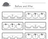 Thanksgiving Before and After Alphabet Worksheet
