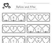 Valentine's Day Before and After Alphabet Worksheet
