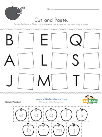 Cut and Paste Letter Matching Worksheet | All Kids Network