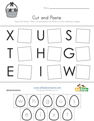 Easter Cut and Paste Letter Matching Worksheet