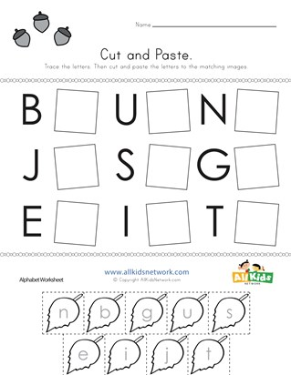 Fall Cut and Paste Letter Matching Worksheet