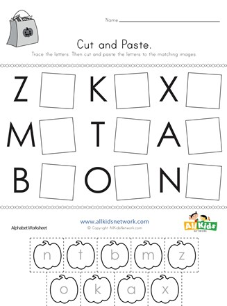 Halloween Cut and Paste Letter Matching Worksheet | All Kids ...