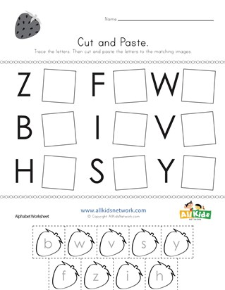 Cut and Paste Letter Matching Worksheet