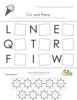 Summer Cut and Paste Letter Matching Worksheet