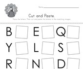 Thanksgiving Cut and Paste Letter Matching Worksheet