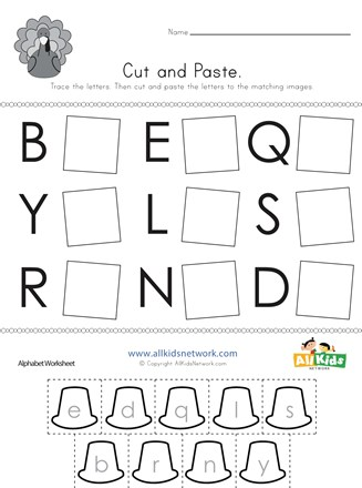 Thanksgiving Cut and Paste Letter Matching Worksheet | All ...