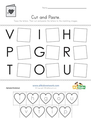 Valentine's Day Cut and Paste Letter Matching Worksheet