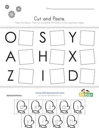 Winter Cut and Paste Letter Matching Worksheet