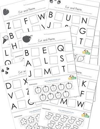 cut and paste letter matching worksheets