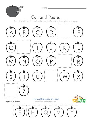 Apple Cut and Paste Missing Letters Worksheet