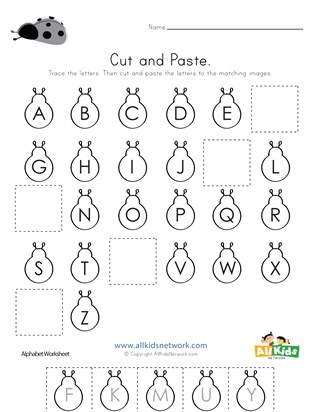 Bug Cut and Paste Missing Letters Worksheet