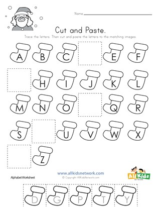 Christmas Cut and Paste Missing Letters Worksheet