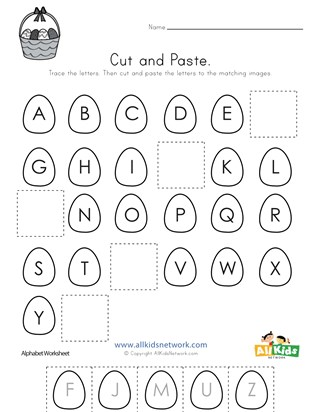 Easter Cut and Paste Missing Letters Worksheet