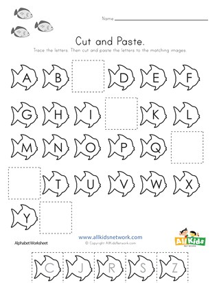 Fish Cut and Paste Missing Letters Worksheet