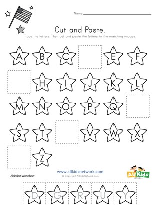 Patriotic Cut and Paste Missing Letters Worksheet