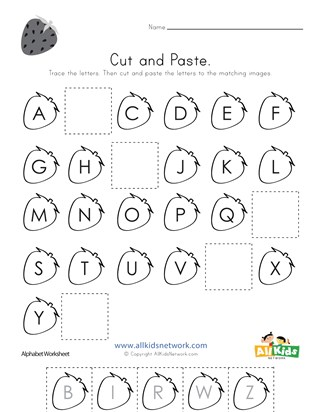 Strawberry Cut and Paste Missing Letters Worksheet