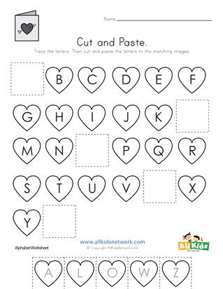 Valentine's Day Cut and Paste Missing Letters Worksheet