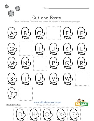 Summer Cut and Paste Missing Letters Worksheet