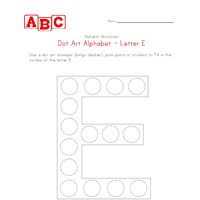 letter e dot art worksheet