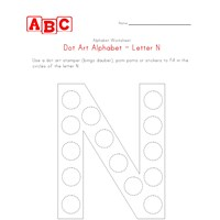 letter n dot art worksheet