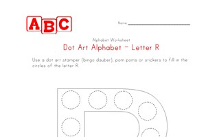 letter r dot art worksheet