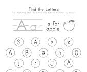 Find the Letter A Worksheet