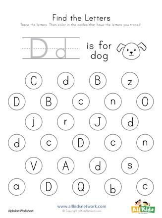 Find the Letter D Worksheet | All Kids Network