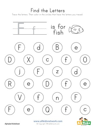 Find the Letter F Worksheet | All Kids Network