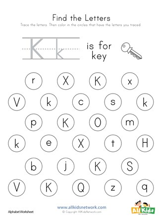Find the Letter K Worksheet | All Kids Network