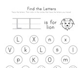 Find the Letter L Worksheet