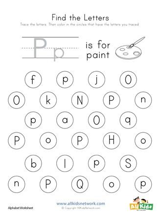 Find the Letter P Worksheet   All Kids Network