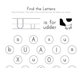 Find the Letter U Worksheet