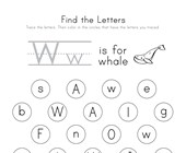 Find the Letter W Worksheet
