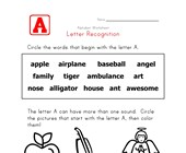 Letter A Words Recognition Worksheet