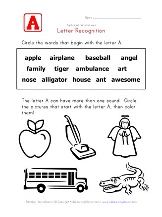 Letter A Words Recognition Worksheet | All Kids Network