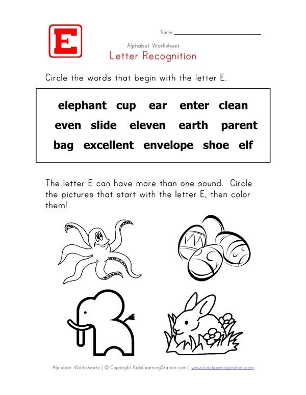 Letter E Words Recognition Worksheet All Kids Network