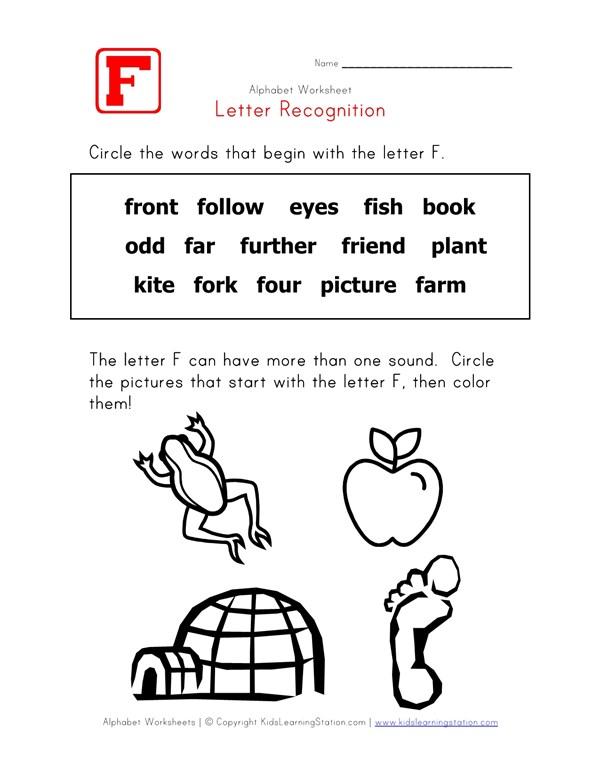 Letter F Words Recognition Worksheet