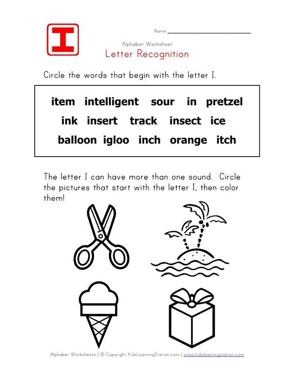 Letter I Words Recognition Worksheet All Kids Network