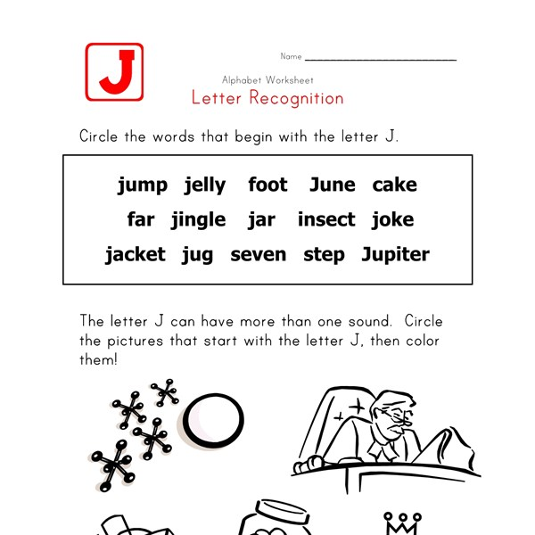 4 Letter J Words. Itsy Bitsy Book Beginning Sounds Letter J ...