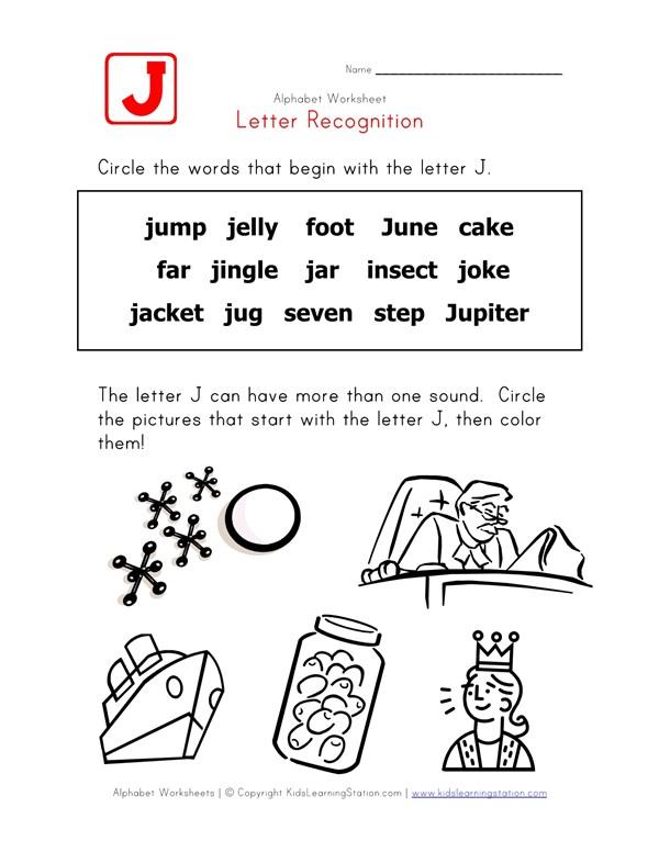 Letter J Words Recognition Worksheet | All Kids Network