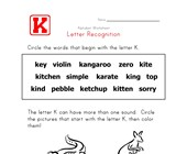 Letter K Words Recognition Worksheet