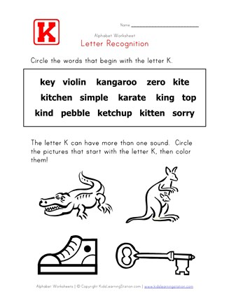 Letter K Words Recognition Worksheet | All Kids Network