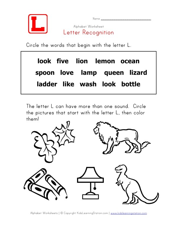 Letter L Words Recognition Worksheet