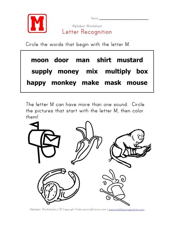 Letter M Words Recognition Worksheet