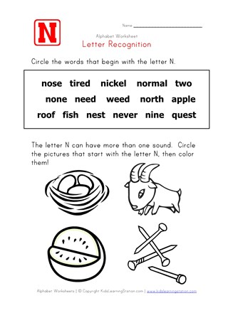 Letter N Words Alphabet Recognition Page