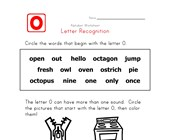 Letter O Words Recognition Worksheet